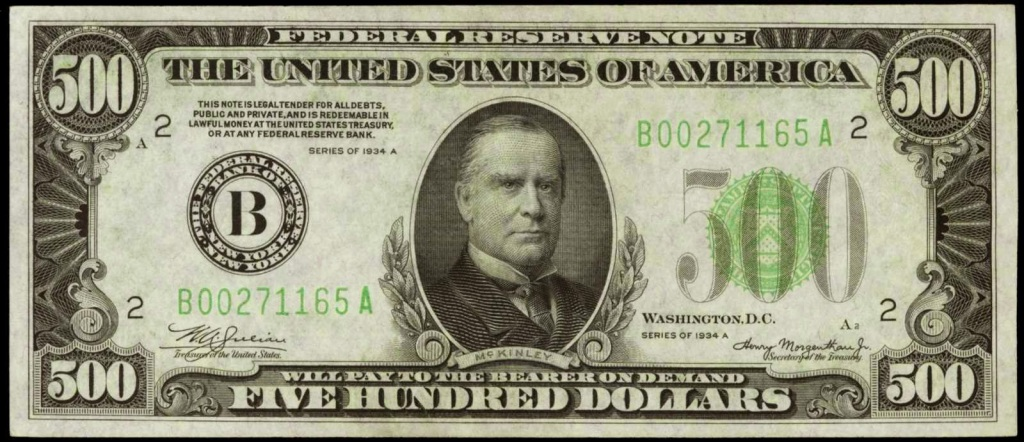 1934 500 Dollar Federal Reserve Note